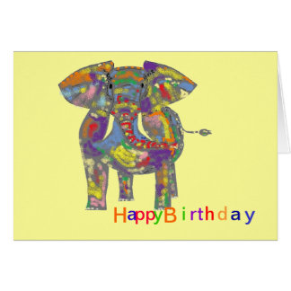 Rainbow Elephant, colourful design,for anyone. Greeting Card