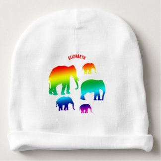 Rainbow Elephant Family With Three Calves Baby Beanie