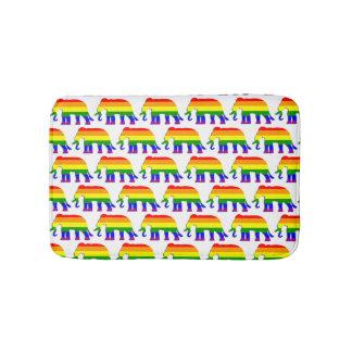 Rainbow elephant pattern bath mat
