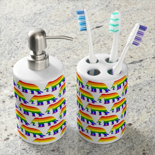 Rainbow elephant pattern soap dispenser and toothbrush holder