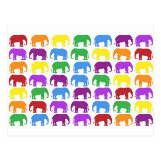 Rainbow Elephants Classy Designer Post Card