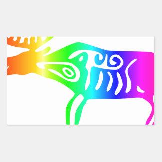 Rainbow Elk Rectangular Sticker