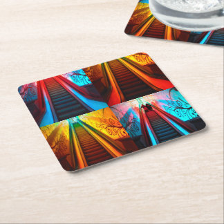Rainbow Escalator Collage Coasters