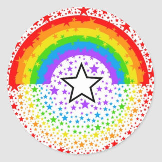 rainbow exploding stars round sticker