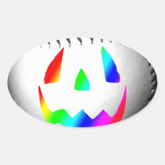 Rainbow Face Baseball Oval Sticker