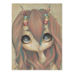 Rainbow fairy girl postcard big eyes