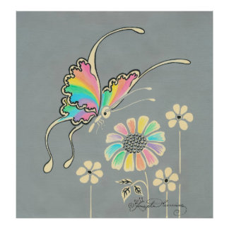 Rainbow Fantasy Butterfly Poster