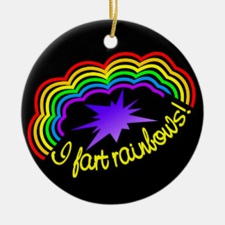 Rainbow Farts ornament, customize Round Ceramic Decoration