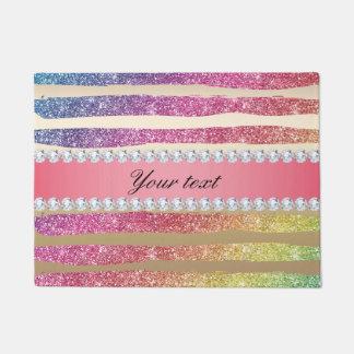 Rainbow Faux Glitter Stripes Diamonds Gold Doormat