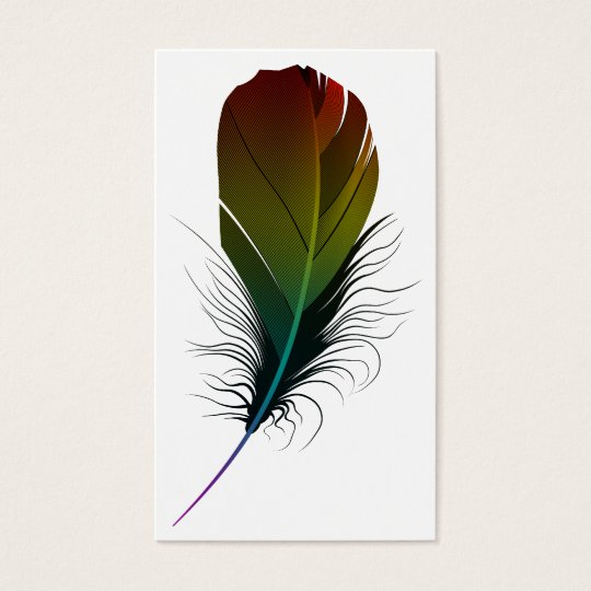 rainbow feather business card