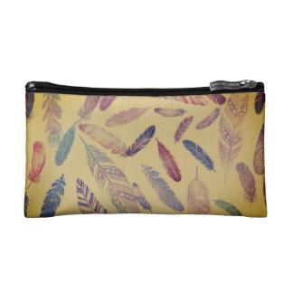 Rainbow Feather Cosmetic Bag