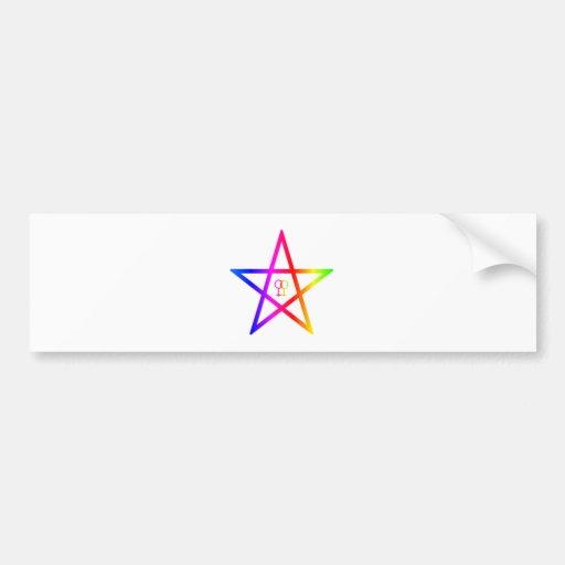 Rainbow female Homosexual Pentagram Bumper Sticker