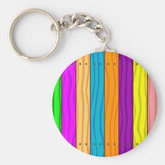 Rainbow Fence Basic Round Button Key Ring
