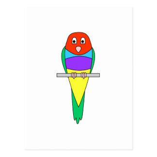 Rainbow Finch Bird. Colorful Gouldian. Postcard