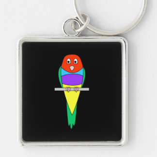 Rainbow Finch Bird. Gouldian Finch. Silver-Colored Square Key Ring