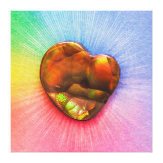 Rainbow Fire Agate with Heart Shape Canvas