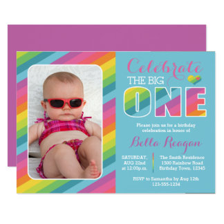 Rainbow First Birthday Party Photo Invitation