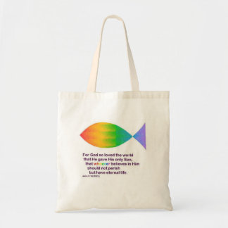 rainbow fish for god so loved the world .... budget tote bag