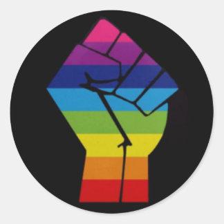 rainbow fist classic round sticker