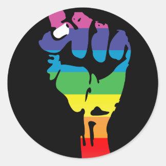 rainbow fist. classic round sticker
