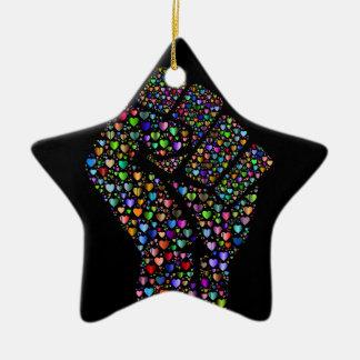 Rainbow Fist of Hearts Christmas Ornament