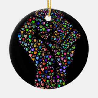 Rainbow Fist of Hearts Round Ceramic Decoration