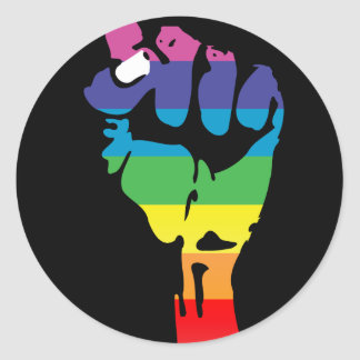 rainbow fist. round sticker