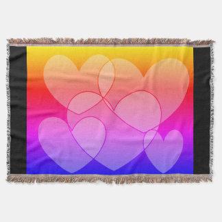 Rainbow Five Hearts SDL Throw Blanket