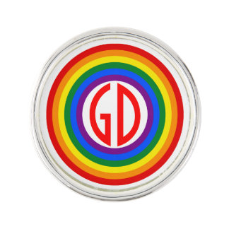 RAINBOW FLAG BUTTON + your sign or monogram Lapel Pin
