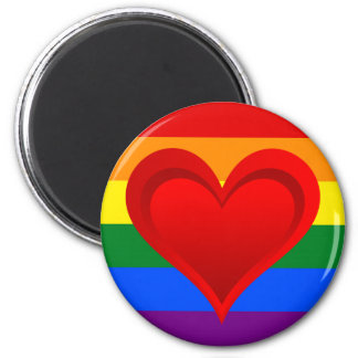 RAINBOW FLAG COLORS & red heart + your ideas 6 Cm Round Magnet