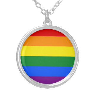 RAINBOW FLAG COLORS + your ideas Silver Plated Necklace
