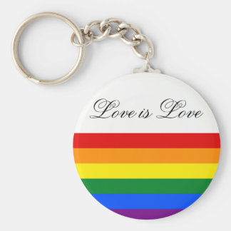 Rainbow Flag Gay Pride LGBT Love is Love Basic Round Button Key Ring