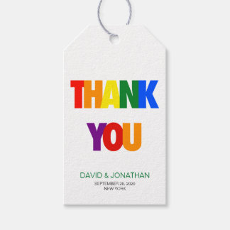 Rainbow Flag Gay Wedding Thank You Favor Tags