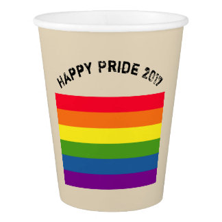 Rainbow Flag Happy GLBT Pride Custom Text Paper Cup