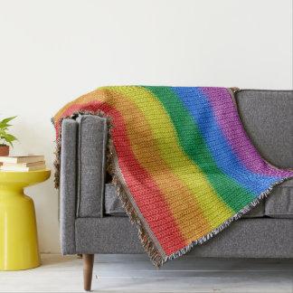 Rainbow Flag knitting Stripes seamless pattern Throw Blanket