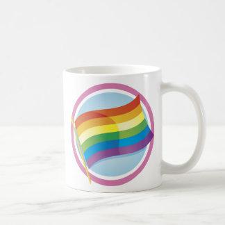 Rainbow Flag Logo Style Mugs- text optional Basic White Mug