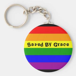 rainbow flag, Saved By Grace Keychain