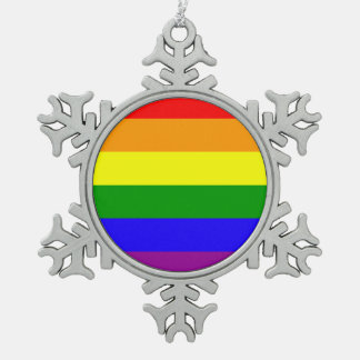 Rainbow flag snowflake pewter christmas ornament