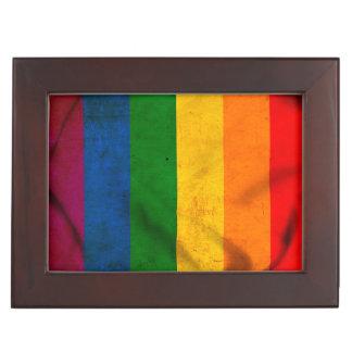 RAINBOW FLAG SQUARE CANVAS KEEPSAKE BOX