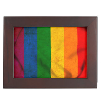 RAINBOW FLAG SQUARE CANVAS KEEPSAKE BOXES
