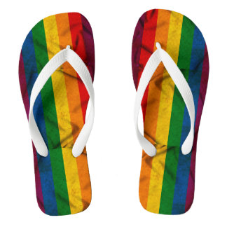 RAINBOW FLAG SQUARE CANVAS -.png Flip Flops