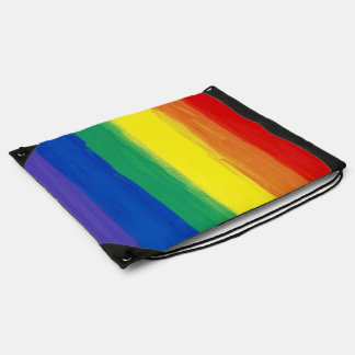 RAINBOW FLAG SQUARE OIL PAINT DRAWSTRING BAG