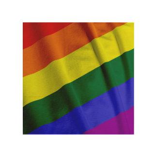 RAINBOW FLAG SQUARE RIBBON WOOD PRINT