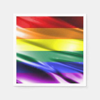 RAINBOW FLAG SQUARE SILK DISPOSABLE SERVIETTES