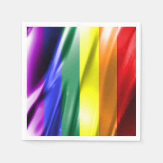 RAINBOW FLAG SQUARE SILK PAPER SERVIETTES
