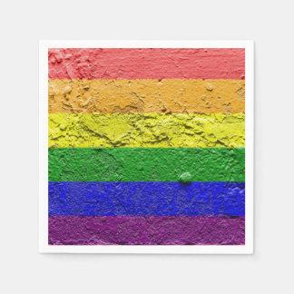 RAINBOW FLAG SQUARE STUCCO PAPER NAPKIN