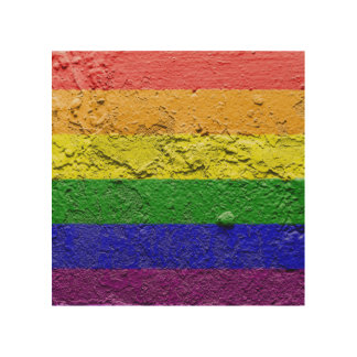 RAINBOW FLAG SQUARE STUCCO WOOD CANVASES