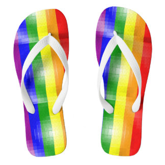 RAINBOW FLAG SQUARE TILE -.png Flip Flops