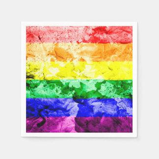 RAINBOW FLAG SQUARE WATERCOLOR DISPOSABLE SERVIETTE
