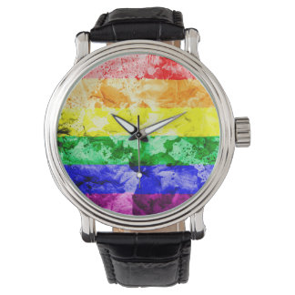 RAINBOW FLAG SQUARE WATERCOLOR WATCH
